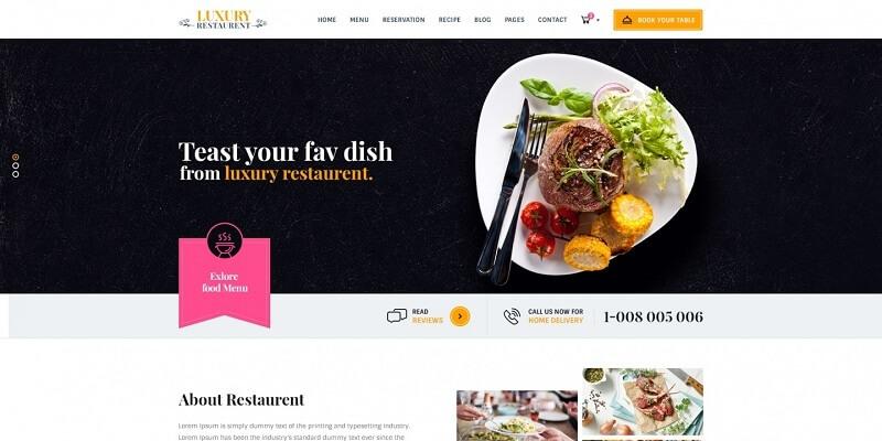 تصميم موقع مطعم